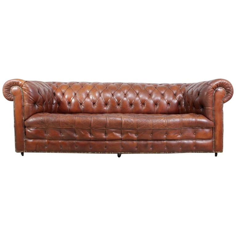 Vintage Brown Leather Chesterfield with Buttoned Seat and Back