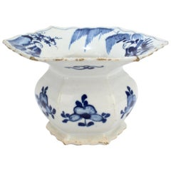 Rare Antique 18th Century Dutch Delft Pottery Spittoon with Chinese Figures