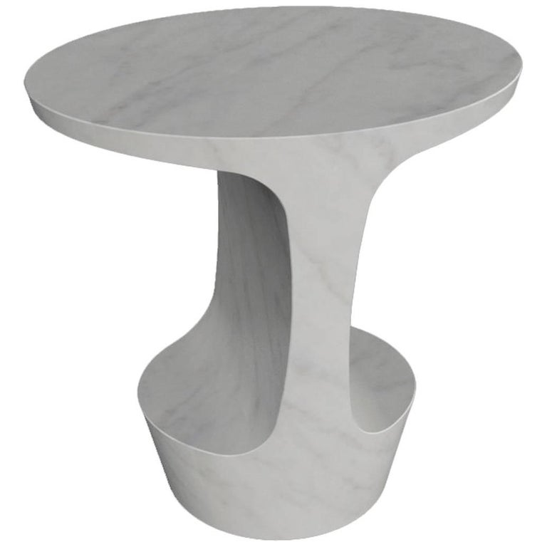Adolfo Abejon 'Atlas' Carrara White Marble Side Table