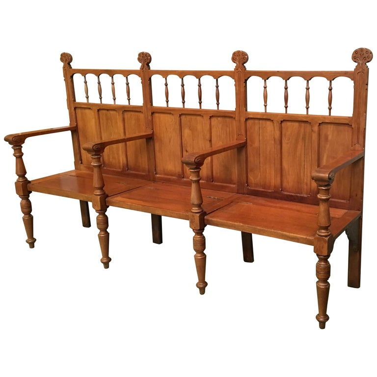 19th Century Large Pine Country Bench with Lattice Back and Three Hinged-Seats