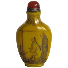 Chinese Snuff Bottle Yellow Milk Glass Hand Enamelled 4 Character Mark, Ca 1920