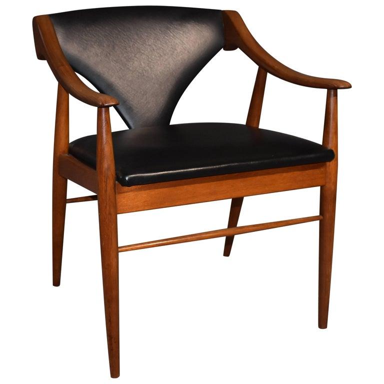 Teak Armchair Black Upholstery, Danish Mid-Century Modern, 1960s