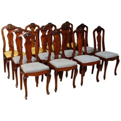 Group of 12 French Chairs in Carved Mahogany Wood from 20th Century
