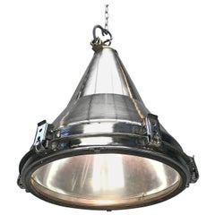 Late Century Korean Stainless Steel, Brass and Glass Conical Flood Light Pendant