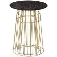 Contemporary Side Table or Tray Table in Brass and Black Granite