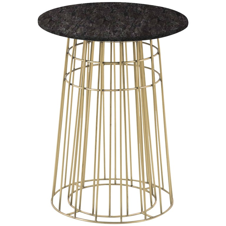 Contemporary Side Table or Tray Table in Brass and Black Granite For Sale