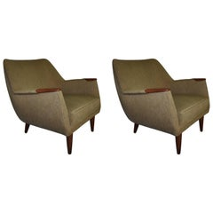 Dusted Green Lounge Chairs, Danish Mid-Century Modern, 1960s