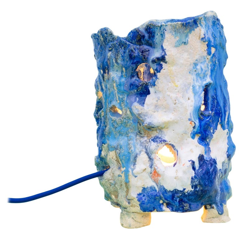 Contemporary Handmade Ceramic Blue Table Lamp La Grotte 2 For Sale