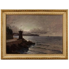 Italian Signed Seascape Painting Oil on Canvas from 20th Century