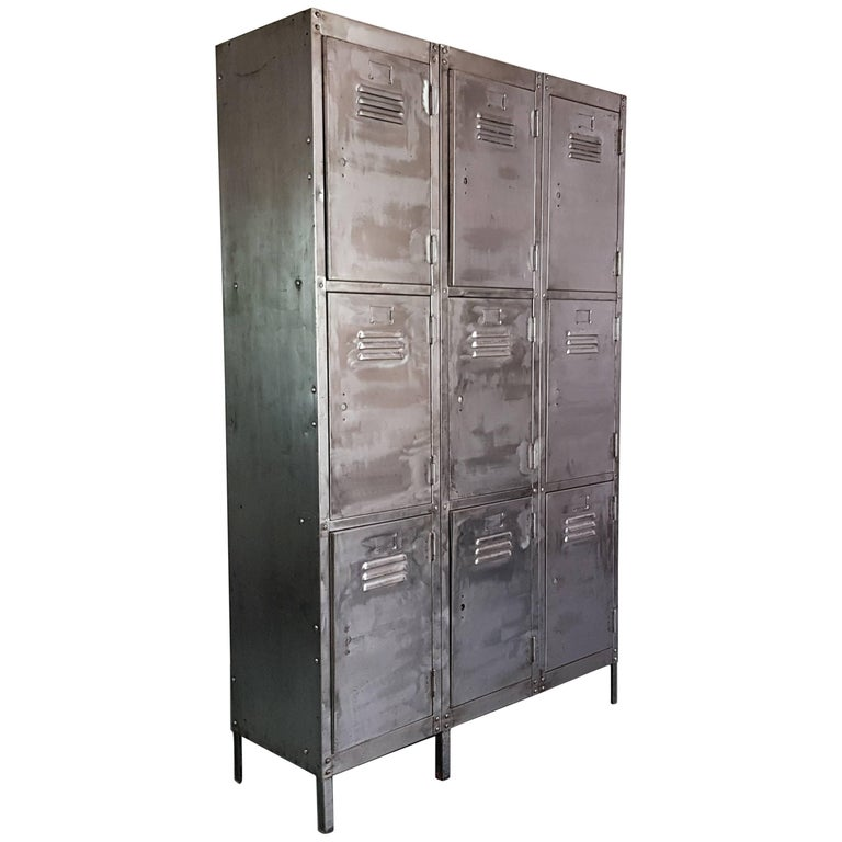 Vintage Industrial Nine Compartment Stripped and Polished Steel School Locker