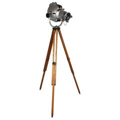 1960s Stripped and Polished Strand 23 Theatre Light on Vintage Wooden Tripod