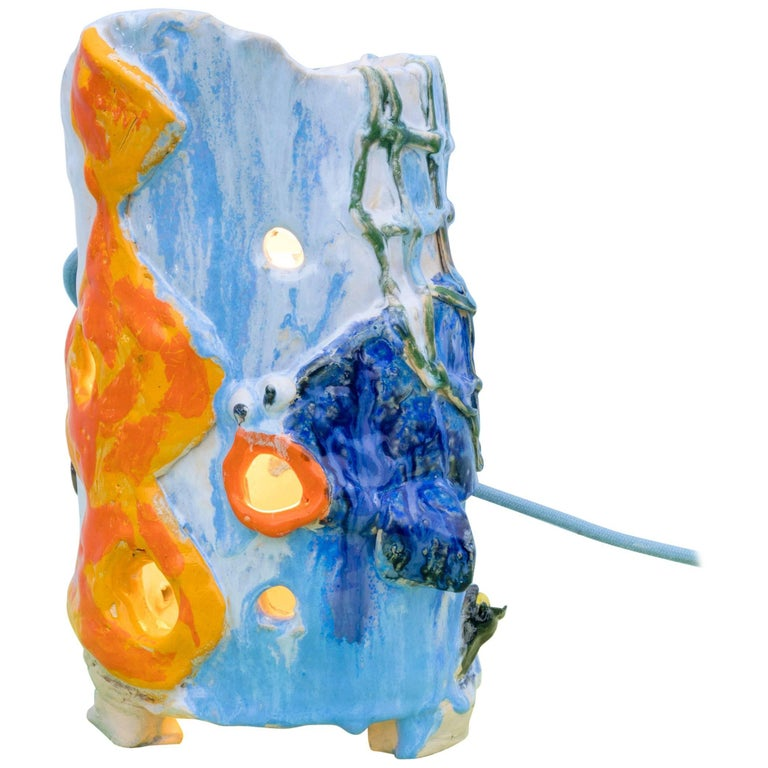 Contemporary Handmade Blue and Orange Ceramic Table Lamp 'Sunday's Lucky Find'