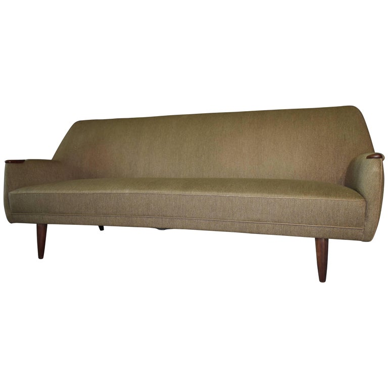 Dusted Green Mid-Century Modern Sofa, Wool and Teak, 1960s