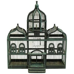 19th Century Triple Domed Wooden Cathedral Taj Mahal Bird Cage, circa 1800s