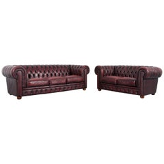 Chesterfield Leather Sofa Set Red Three-Seat Two-Seat