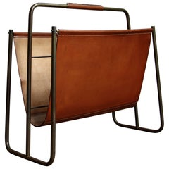 Carl Auböck II Large Vintage 1950s Clay-Color Leather and Brass Magazine Holder