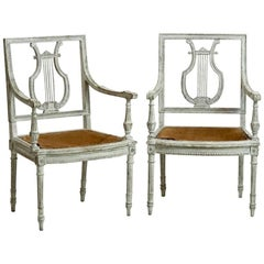Pair of Fine Gustavian Style Armchairs with Lyre Back
