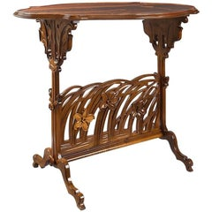 """French Art Nouveau Marquetry """"Narcissus"""" Side Table by Emile Gallé"""