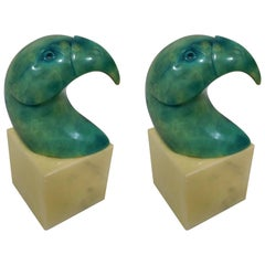 Pair of Italian Tinted Green Alabaster Puffin Bookends