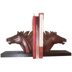 Oak Horses Head Bookend, 1950s