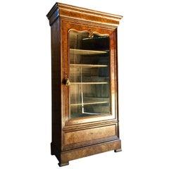 Stunning-French-Bookcase-Vitrine-Cabinet-Burr-Walnut Glazed 19th Century Antique