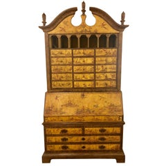 Yellow Lacquer Chinoiserie Style Decorated Secretary Desk