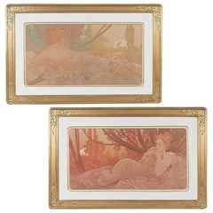 """Pair of French Art Nouveau Lithographs, """"Dawn and Dusk"""" by Alphonse Mucha"""