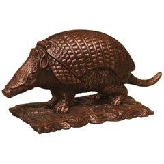 Well-Cast Mid-19th Century Bronze Armadillo Inkwell