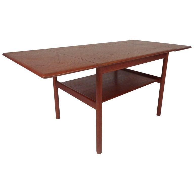 Rare Midcentury Norwegian Teak Drop-Leaf Coffee Table by Rasmus Solberg