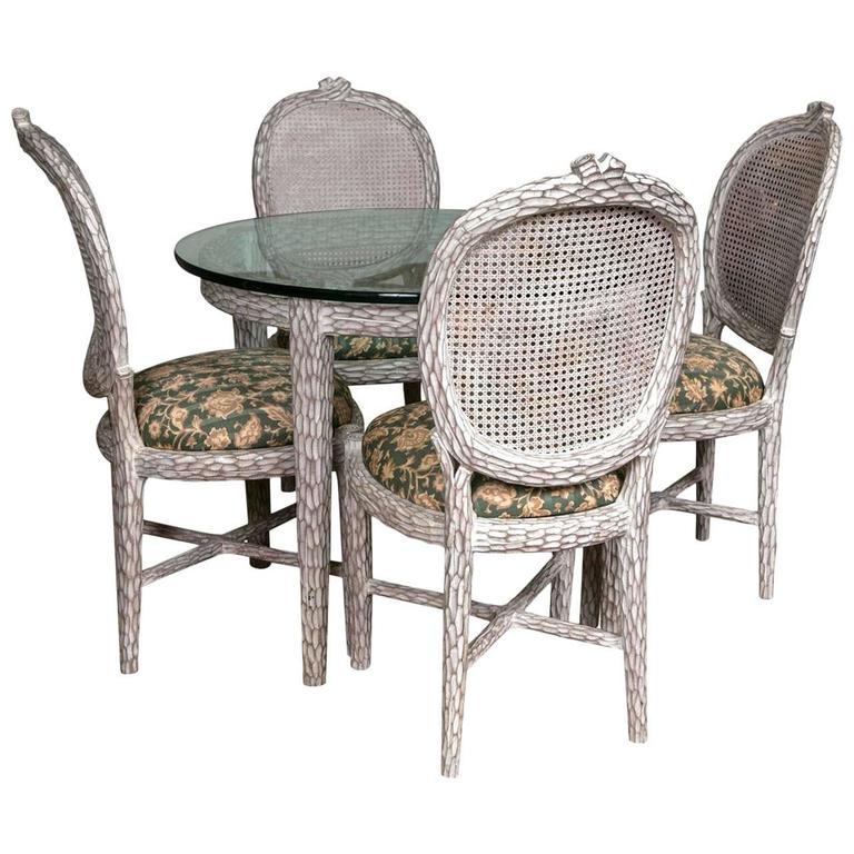Mid-Century Modern Root Wood Table Dinette Set With Glass Top and Four Chairs