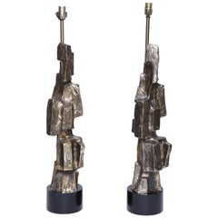 Pair of Brutalist Lamps by Maurizio Tempestini