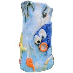 Contemporary Handmade Blue Ceramic Vase by Superpoly, with Fish Decoration