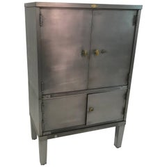 Industrial Brushed Steel and Brass Document Office Cabinet by Art Metal