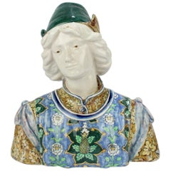 Antique Angelo Minghetti Italian Bust of a Renaissance Youth