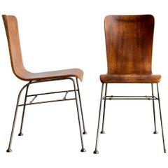 Pair of 1950s Wire Framed Bent Laminate Walnut Chairs on Bakelite Feet