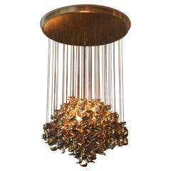 Italian Modernist Brass Hanging Curls Chandelier