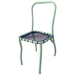 Contemporary Handmade Green Steel Chair with Blue Fishnet Seat by Superpoly