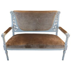 French Louis XVI Style Patinated Bench