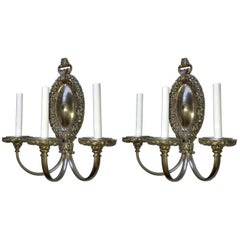 Wonderful Pair of Brushed Silvered Bronze Filigree Neoclassical Caldwell Sconces
