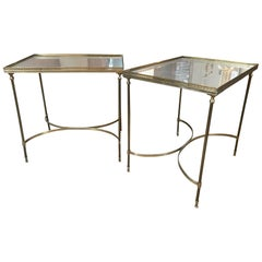 Brass and Mirrored Side Tables with Pierced Rail