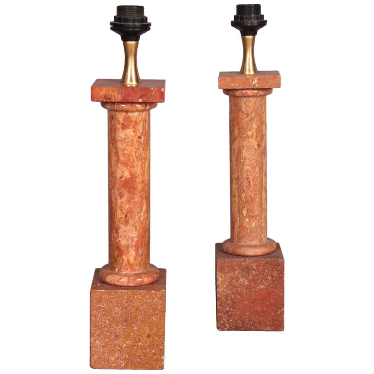 Travertine Italian Pair of Table Lamp