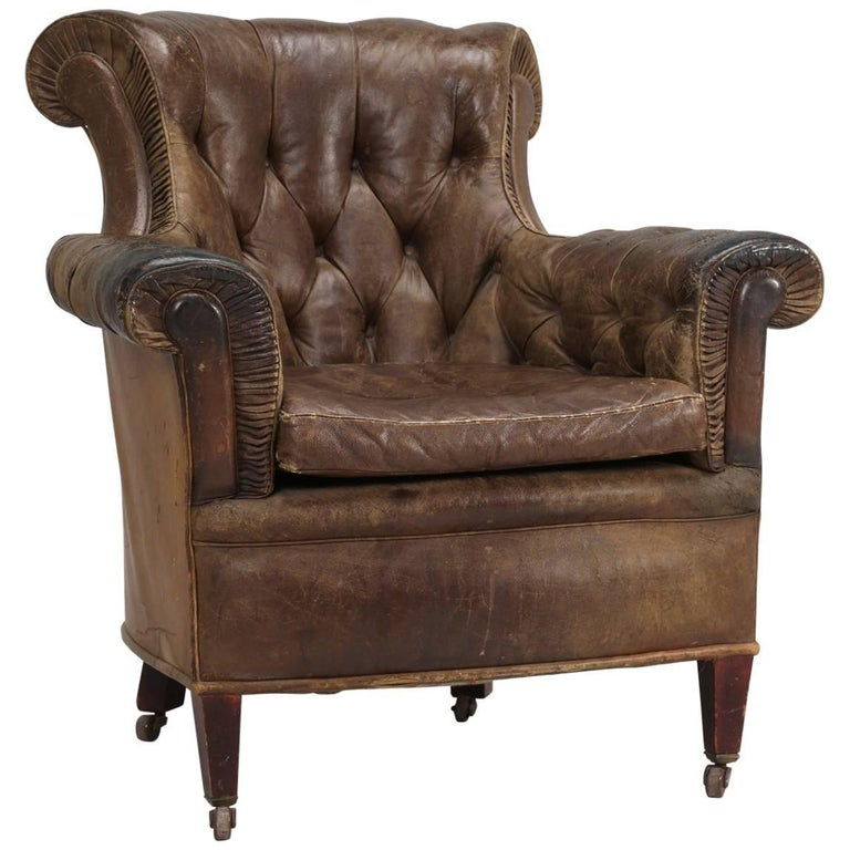 Antique French Leather Chair, circa 1800s For Sale - Antique French Leather Chair, Circa 1800s For Sale At 1stdibs