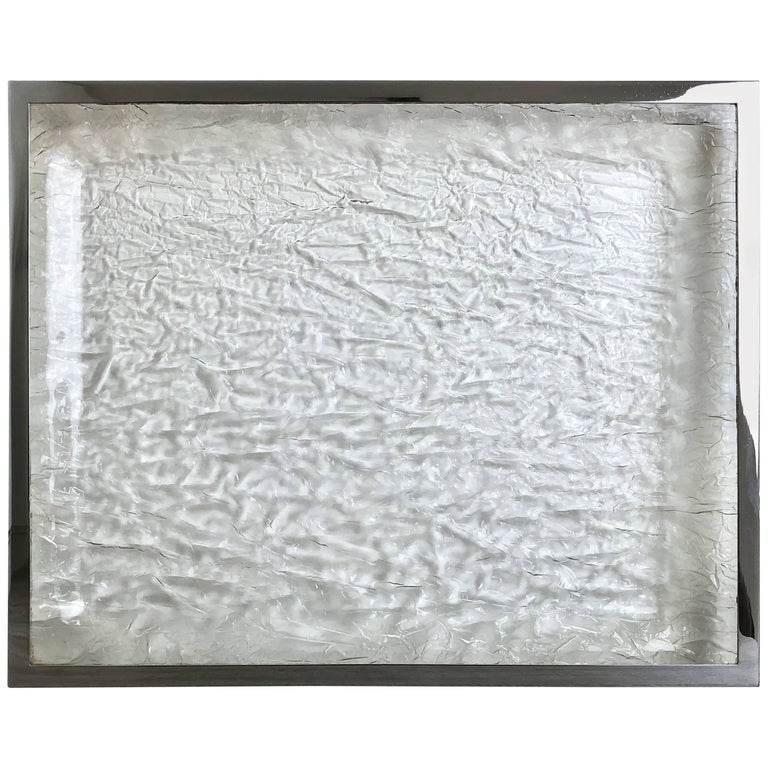 Ice Effect Chipped Tray in Chrome and Lucite, Italy, 1970s