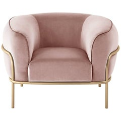 Gallotti & Radice Sophie Armchair in Fabric, Leather or Velvet with Brass Detail