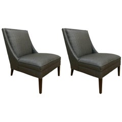 Pair of Mid Century Modern Gray Slipper Chairs in the Style of Paul McCobb