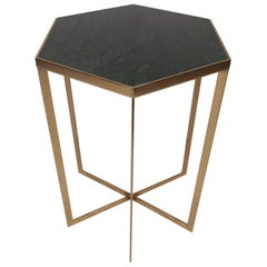Mid-Century Modern Hexagonal Marble-Top Pedestal Table