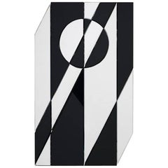 Black and Glass Cubista Mirror by Pietro Russo for Gallotti & Radice