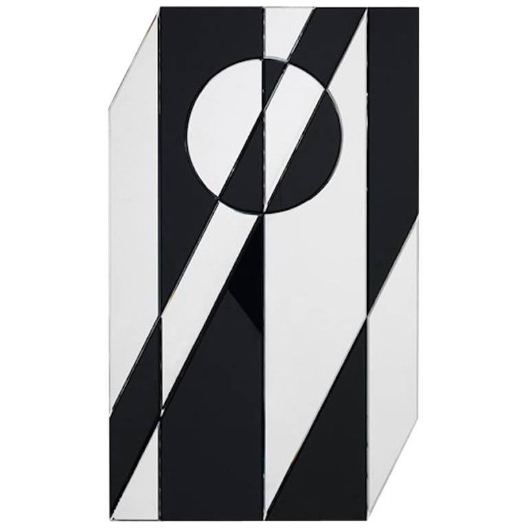 Black and Glass Cubista Mirror by Pietro Russo for Gallotti & Radice For Sale