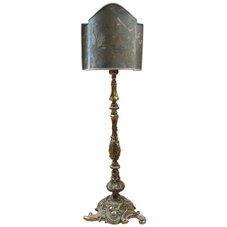 19th Century Lamp with Fortuny Shade