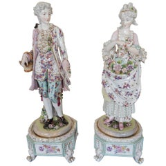 Huge Pair of Meissen Style Hand-Painted Porcelain Figures